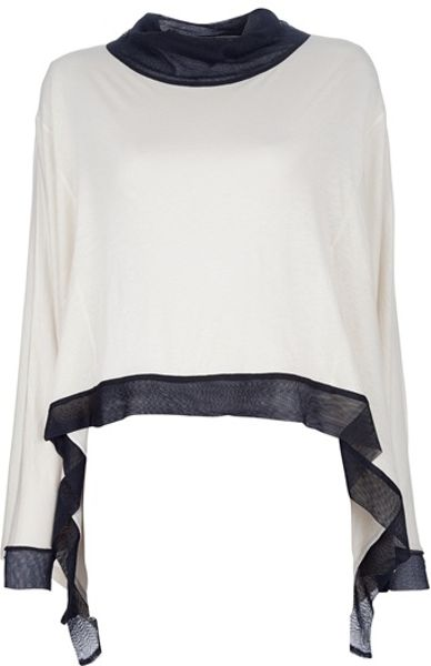 Ann Demeulemeester Wide Top in White (cream) - Lyst