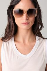Balenciaga Twisted Temple Sunglasses in Beige - Lyst
