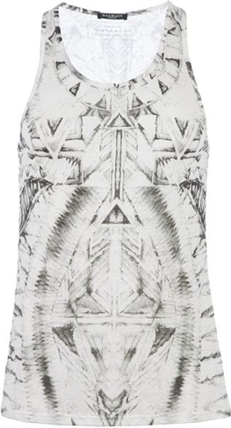 Balmain Printed Tank Top in White for Men - Lyst