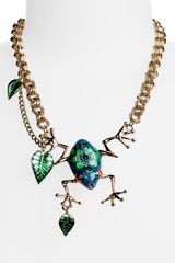 Betsey Johnson Rio Frog Leaf Statement Necklace - Lyst