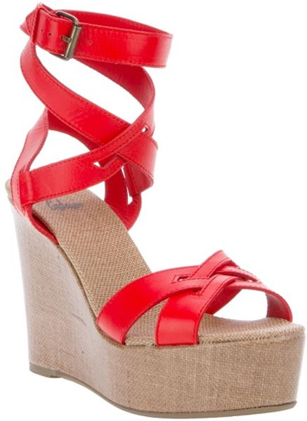 Castaner Quomo Leather Wedge Sandal in Red - Lyst