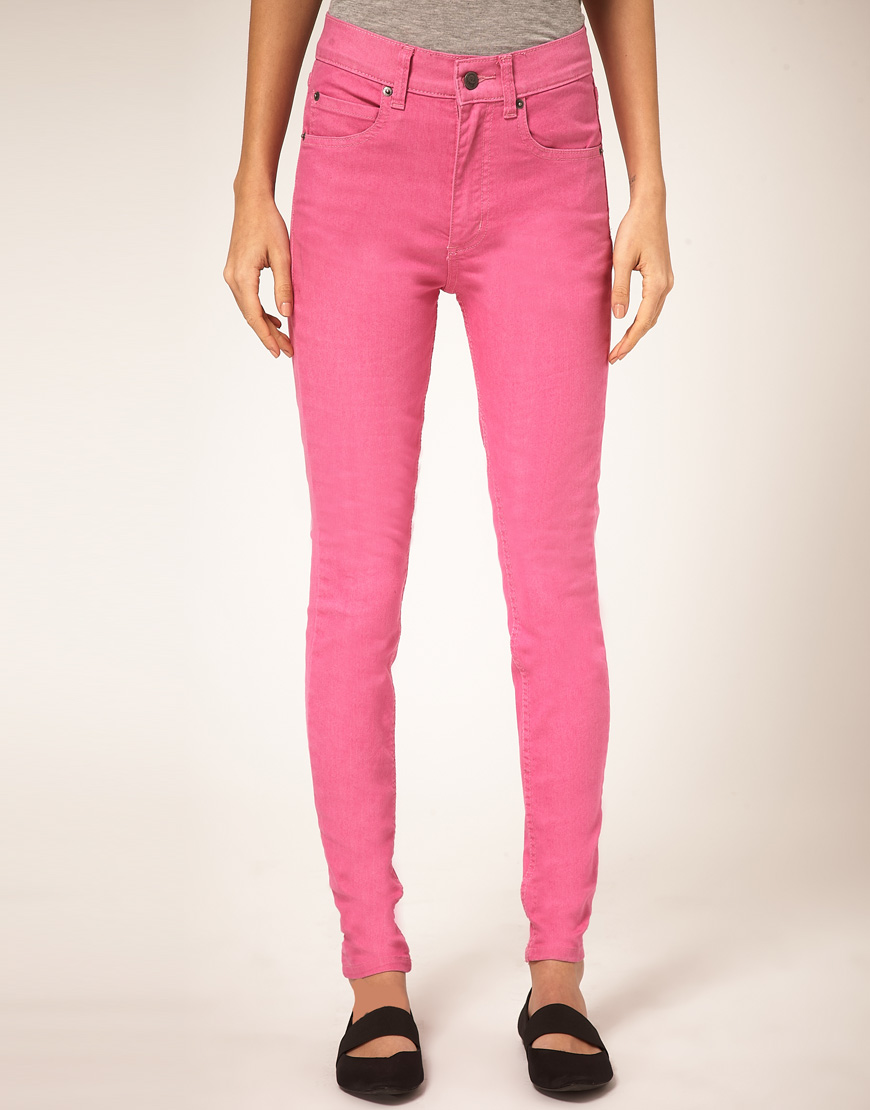 Cheap monday Second Skin Skinny Jeans With High Waist in Pink | Lyst