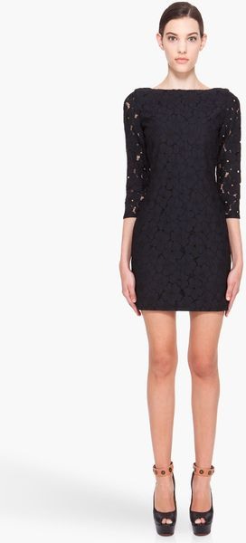 Diane Von Furstenberg Black Sarita Lace Flower Dress in Black - Lyst