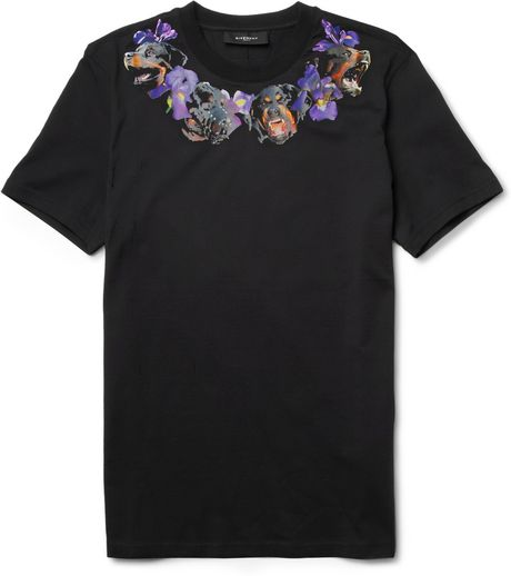 Givenchy Rottweiler and Flowerprint Cotton Tshirt in Black for Men - Lyst
