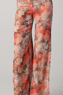 Haute Hippie Floral Wide Leg Pants with Slits - Lyst