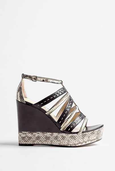 Kors By Michael Kors Cardwell Snake Wedge Sandal in Black (snake) - Lyst