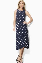 Lauren by Ralph Lauren Polka Dot Midi Dress - Lyst