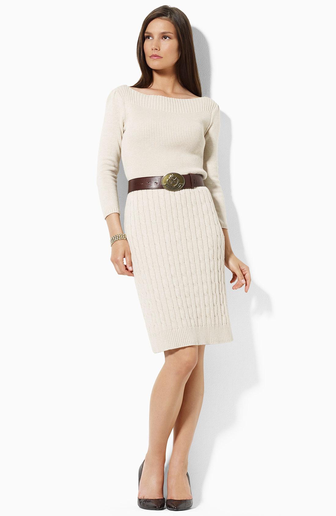 lauren by ralph lauren sweater dress in beige oatmeal heather lyst. Black Bedroom Furniture Sets. Home Design Ideas