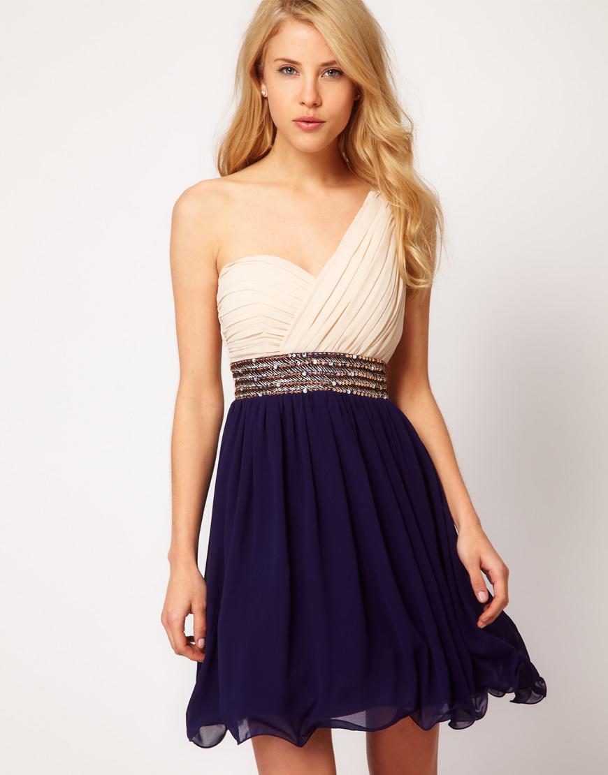 little mistress little mistress embellished waist one shoulder dress in blue lyst. Black Bedroom Furniture Sets. Home Design Ideas
