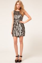Oasis Animal Sequin Dress in Gray (multi) - Lyst