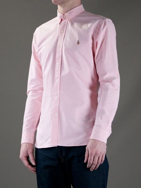 Polo ralph lauren oxford shirt in pink for men lyst for Pink oxford shirt men