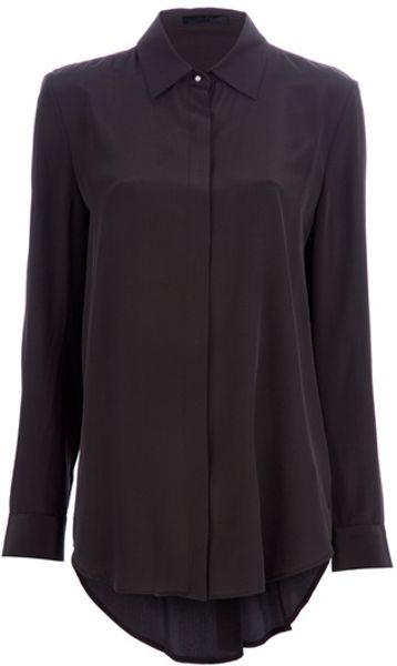 The Row Pleated Blouse in Brown - Lyst
