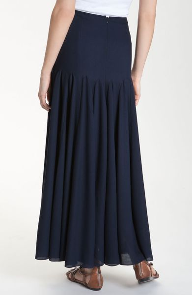 valette chic dobby godet maxi skirt in blue navy lyst