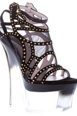 Versace Wedge Sandal in Black - Lyst