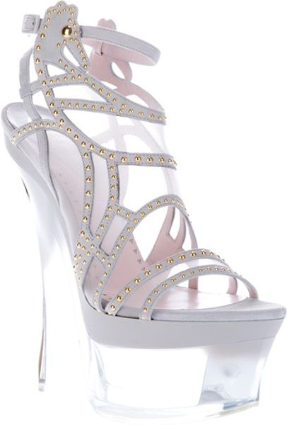 Versace Wedge Sandal in White (grey) - Lyst