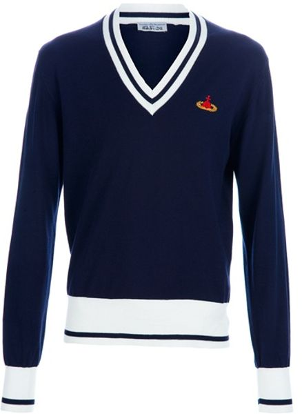Vivienne Westwood Vneck Logo Jumper in Blue for Men - Lyst
