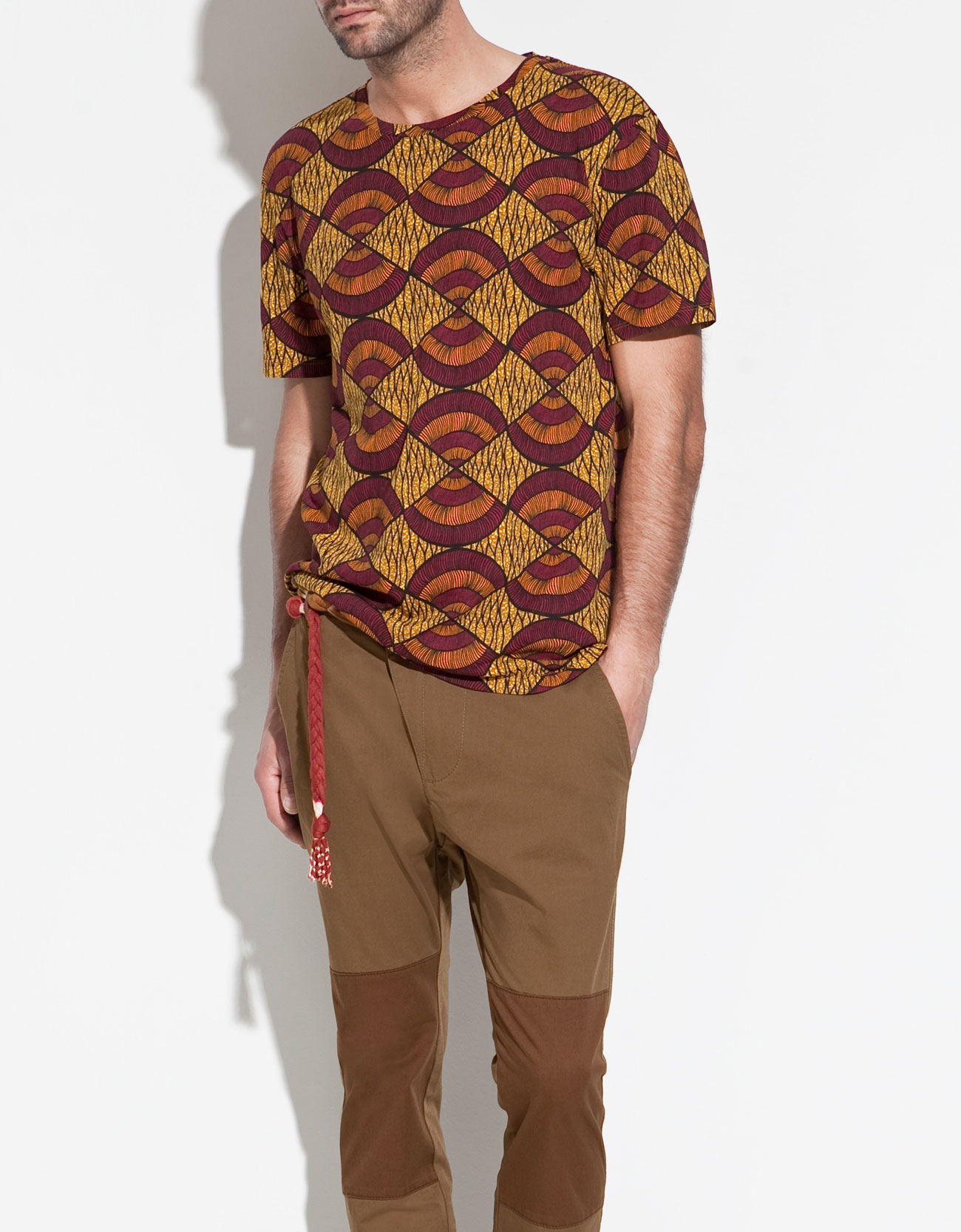 Zara african print t shirt in orange for men lyst for Who prints t shirts