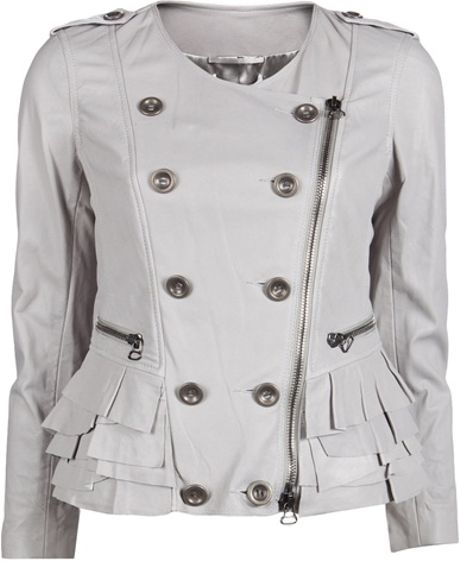 3.1 Phillip Lim Motorcycle Ruffle Jacket in Gray (grey) - Lyst