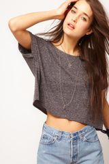 ASOS Collection Asos Crop Textured Tshirt - Lyst