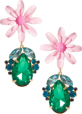 Asos Flower Jewel Drop Earrings - Lyst