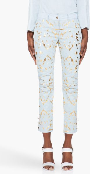 Balmain Pale Blue Leather Embossed Pants - Lyst