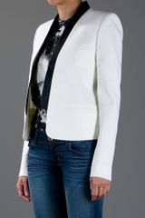 Balmain Structured Open Front Blazer in White - Lyst