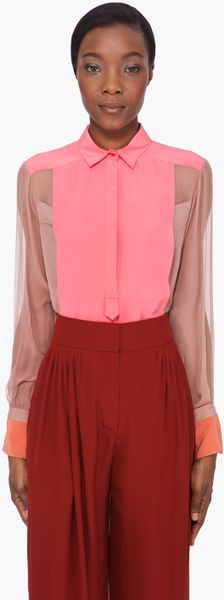 Chloé Pink Sheer Sleeve Silk Blouse in Multicolor (pink) - Lyst