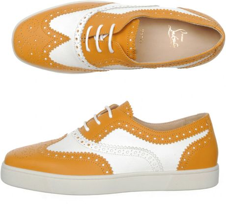 Christian Louboutin Golfito Leather Shoes in Orange for Men (mustard) - Lyst