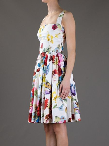 Dolce Amp Gabbana Floral Dress In Multicolor Floral Lyst