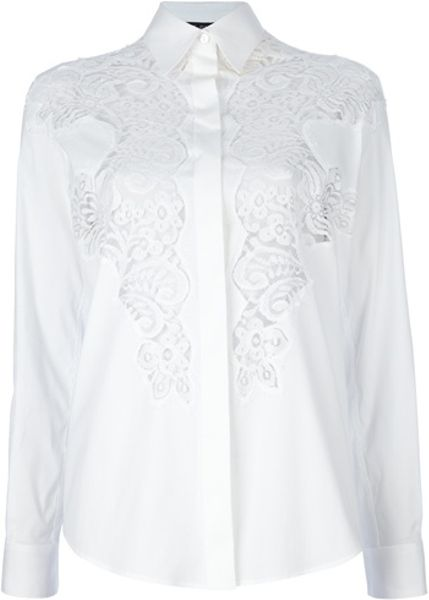 Dolce & Gabbana Lace Detail Blouse in White - Lyst