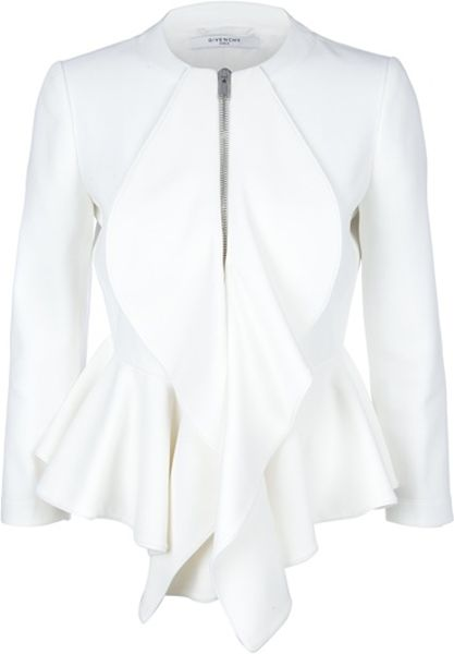 Givenchy Peplum Jacket in White - Lyst