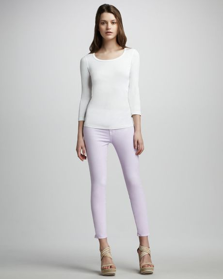 J Brand Luxe Twill Slim Pants  in Purple (lilac) - Lyst