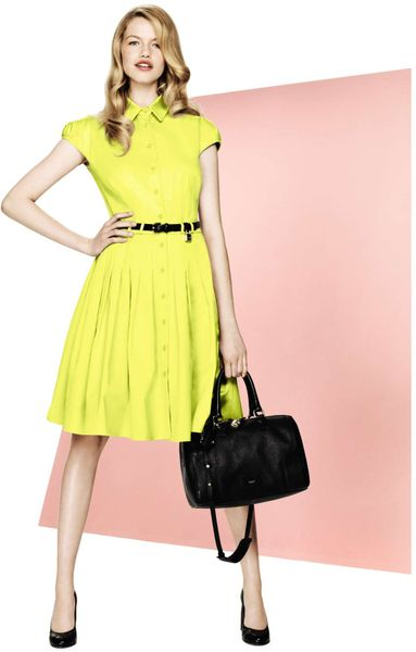 Jaeger Pleated Shirt Dress in Yellow - Lyst