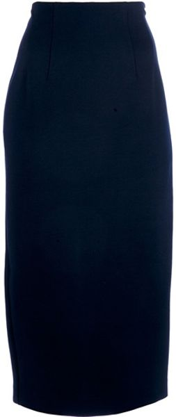 Jil Sander High Waisted Pencil Skirt in Blue - Lyst