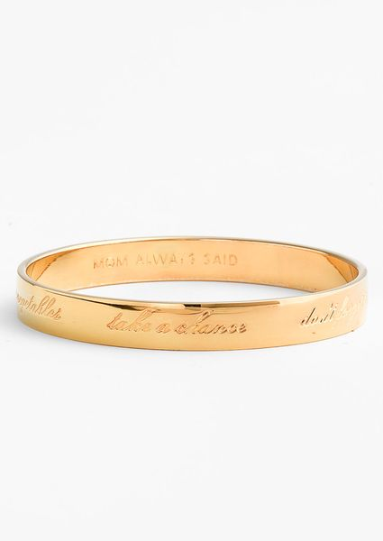 Kate Spade Idiom Thin Bangle in Gold (mom always said- gold) - Lyst