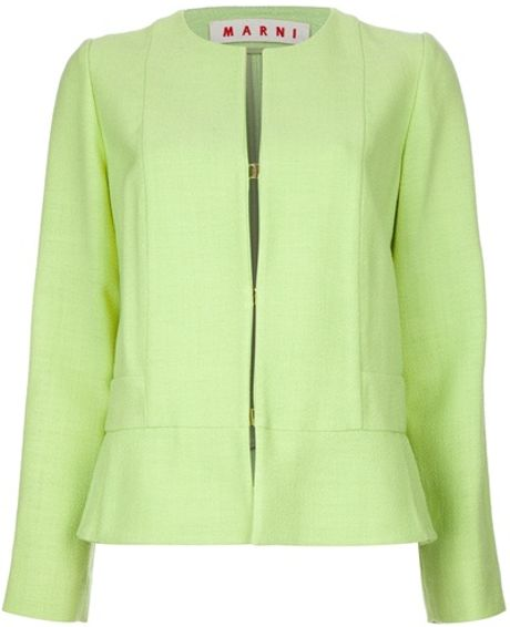 Marni Collarless Jacket in Green - Lyst