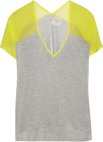Mason by Michelle Mason Jersey and Silkcrepe Tshirt - Lyst