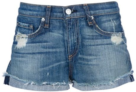 Rag & Bone Destroyed Emma Short in Blue