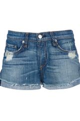 Rag & Bone Destroyed Emma Short in Blue - Lyst