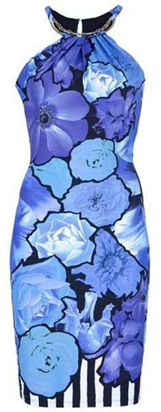 Roberto Cavalli Floral Dress in Blue (floral) - Lyst