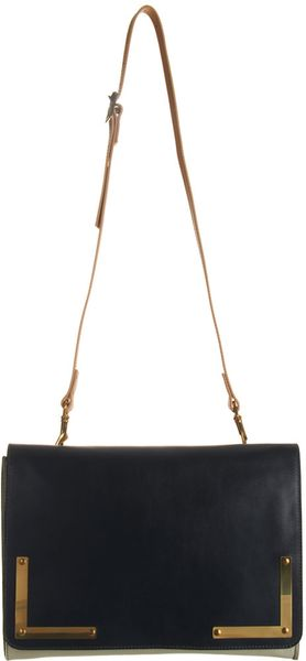 Sophie Hulme Colorblock Flap Front Crossbody Clutch in Black (gold) - Lyst