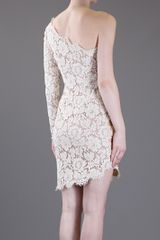 Stella Mccartney Asymmetric Lace Dress in Beige (nude) - Lyst