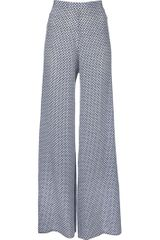 Stella Mccartney Wide Leg Trouser in Gray (white) - Lyst