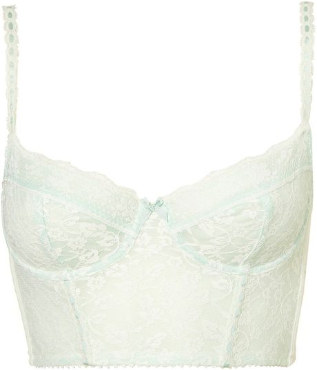 Topshop Mint Leafy Lace Bralet in Green (mint) - Lyst