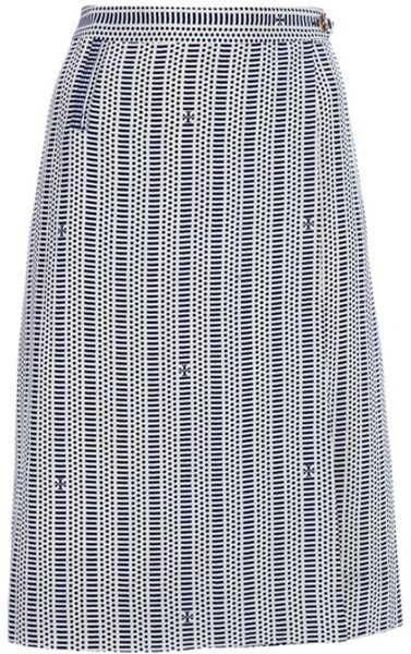 Tory Burch Print Skirt in Blue - Lyst