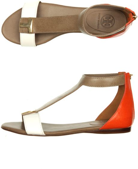 Tory Burch Casey Flat Sandals in Brown (white) - Lyst