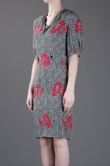 Yves Saint Laurent Print Dress in Gray (grey) - Lyst