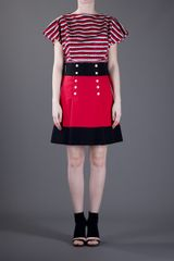 Yves Saint Laurent Button Up Skirt in Red - Lyst