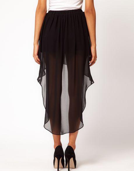 asos chiffon skirt with high low hem in black lyst