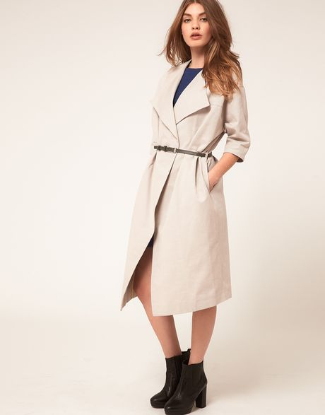 Asos Collection Asos Midi Belted Coat in Beige (grey) - Lyst